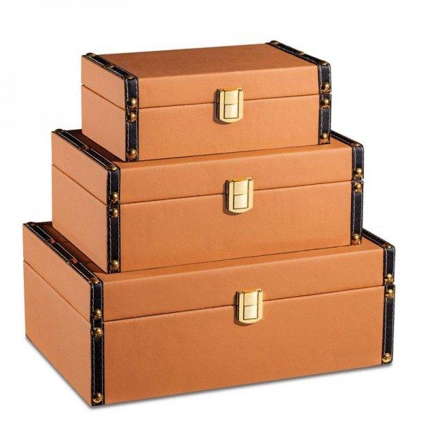 set 3 caixinhas decorativas courino marrom 20877961 1 20190320171647