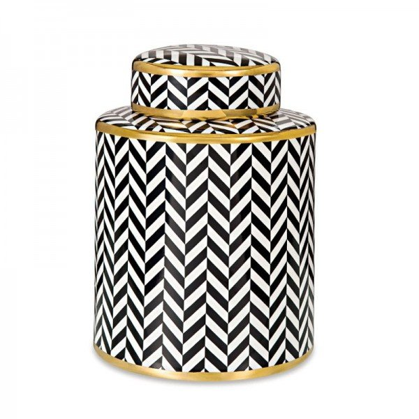 potiche ceramica preto e branco com detalhes em dourado g 20877965 1 20190321160252