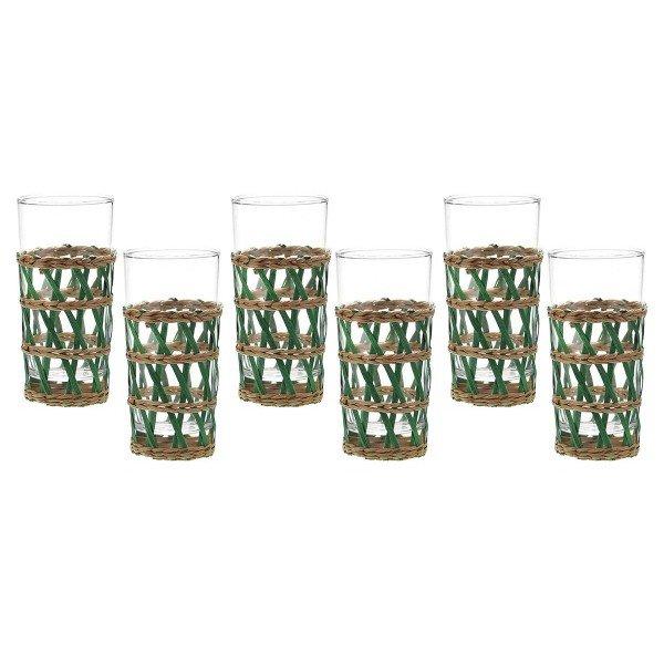 jogo de 6 copos em vidro e rattan verde 20877321 1 20181210150933