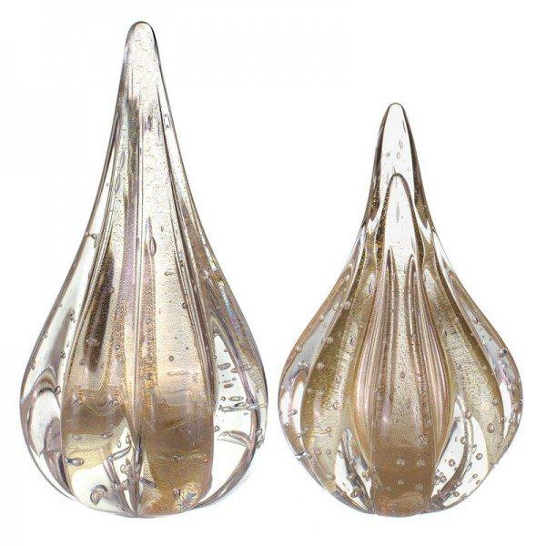 par de gotas cristal murano piasa p pp transparente c ouro 20877821 1 20190304164658
