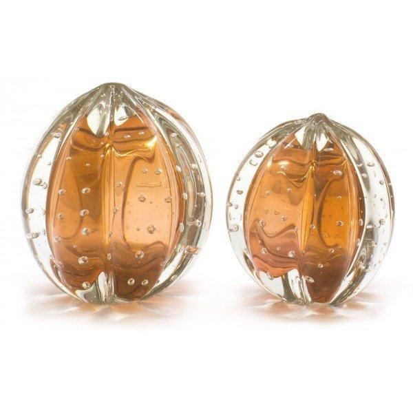 par de esferas em cristal murano senna p m cor laranja 20875844 1 20181210150722