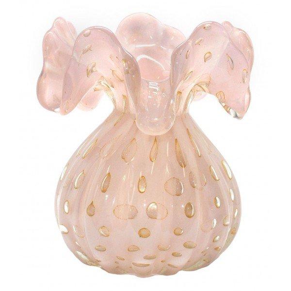 vaso cristal murano trouxinha veneza rosa leitoso c ouro 20876162 1 20181210150648