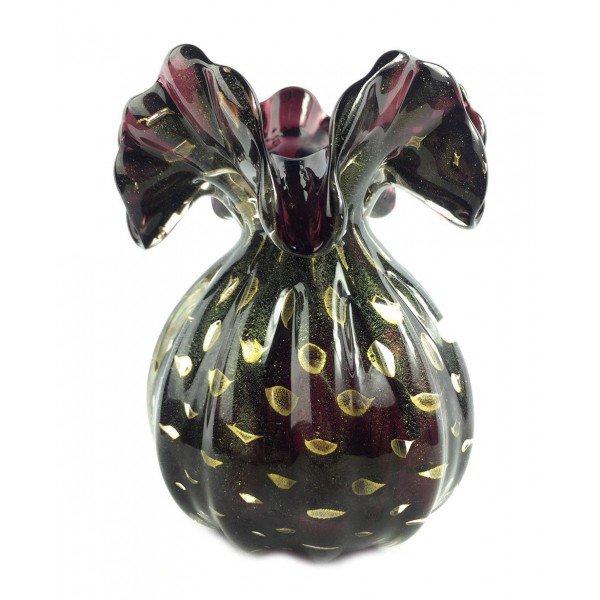 vaso cristal murano trouxinha veneza cor jabuticaba c ouro 20876977 1 20181210150652