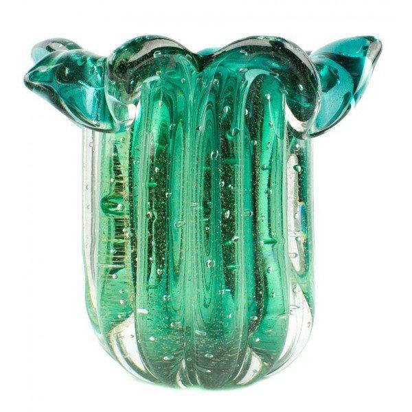 vaso em cristal murano babado com ouro cor esmeralda 20876633 1 20181210150710