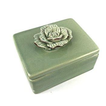 caixinha decorativa em ceramica verde c flor em 3d 12x9 5 20876667 1 20181210150827