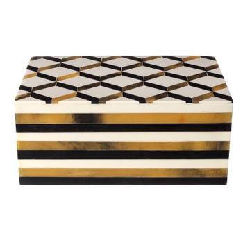 caixa decorativa pintura 3d branco preto dourado 20878147 1 20190405170241