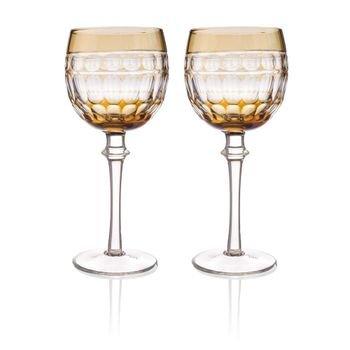 set 2 tacas de vidro cristalino lapidado p agua ambar 20878871 1 20190719175512