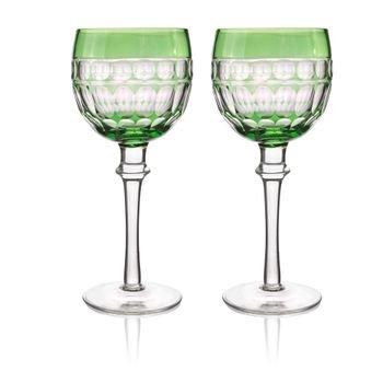 set 2 tacas de vidro cristalino lapidado p agua verde 20878877 1 20190717173943