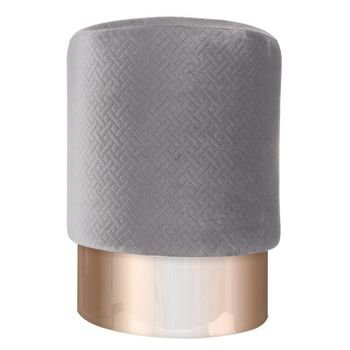 banqueta puff em veludo cinza2 com metal rose gold