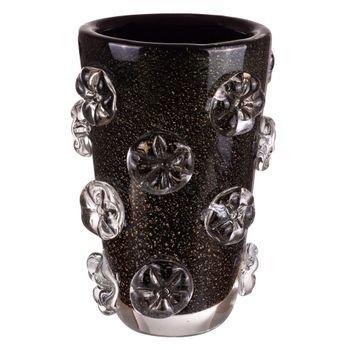 vaso murano fiore preto ouro