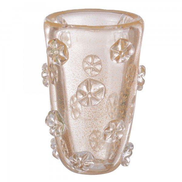 vaso murano fiore transparente ouro