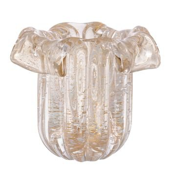 vaso murano babado cristal
