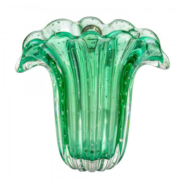 vaso di murano leque verde