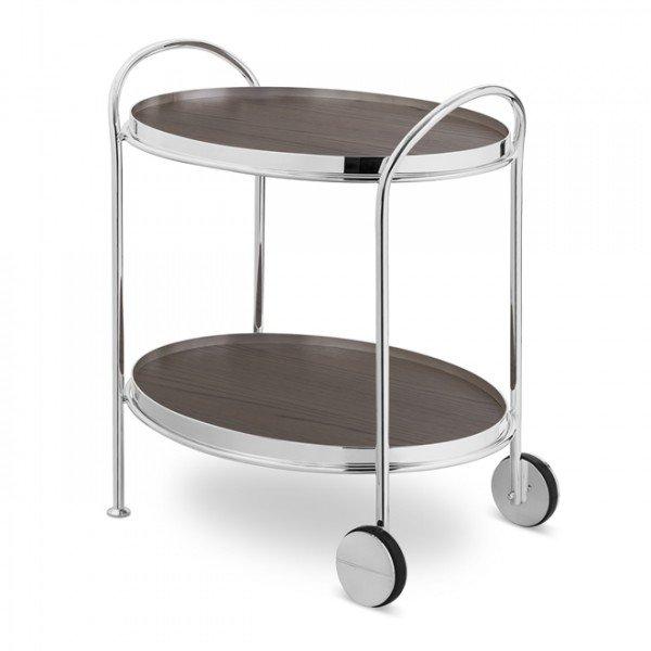 carrinho fiocco oval prata pequeno com 2 madeiras