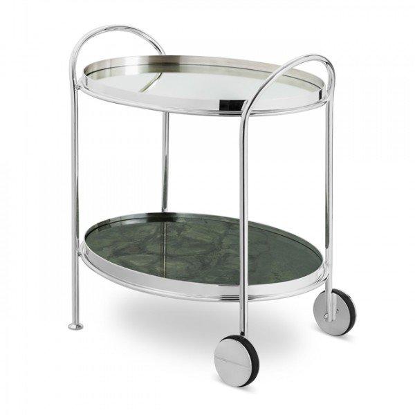 carrinho fiocco oval prata pequeno com espelho e marmore green peace