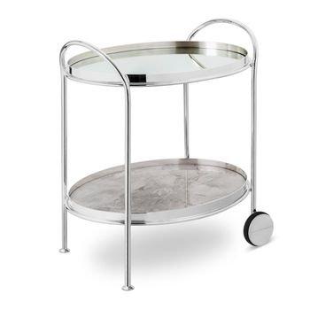 carrinho fiocco oval prata pequeno com espelho e marmore rafaello