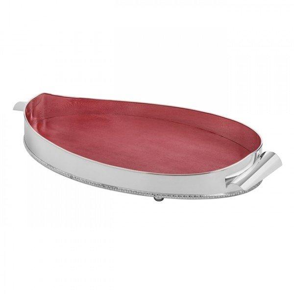 bandeja veneza media niquel com cordao palha e fundo de couro vermelho 2