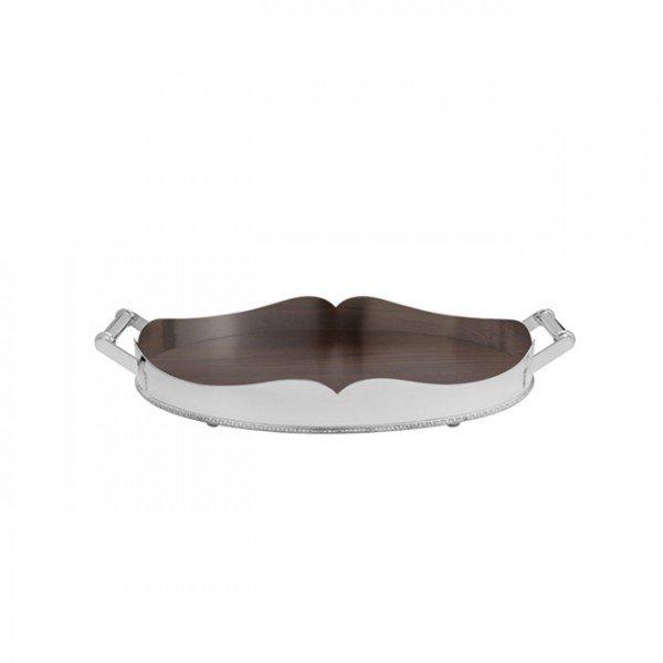 bandeja coracao pequena prata com cordao palha e fundo de madeira