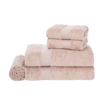 jogo banho 5 pecas trussardi 100 algodao egitto elegance soft rose